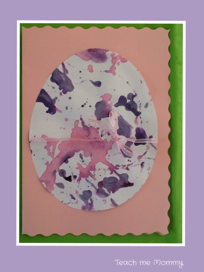 Easter egg card from DIY marbling