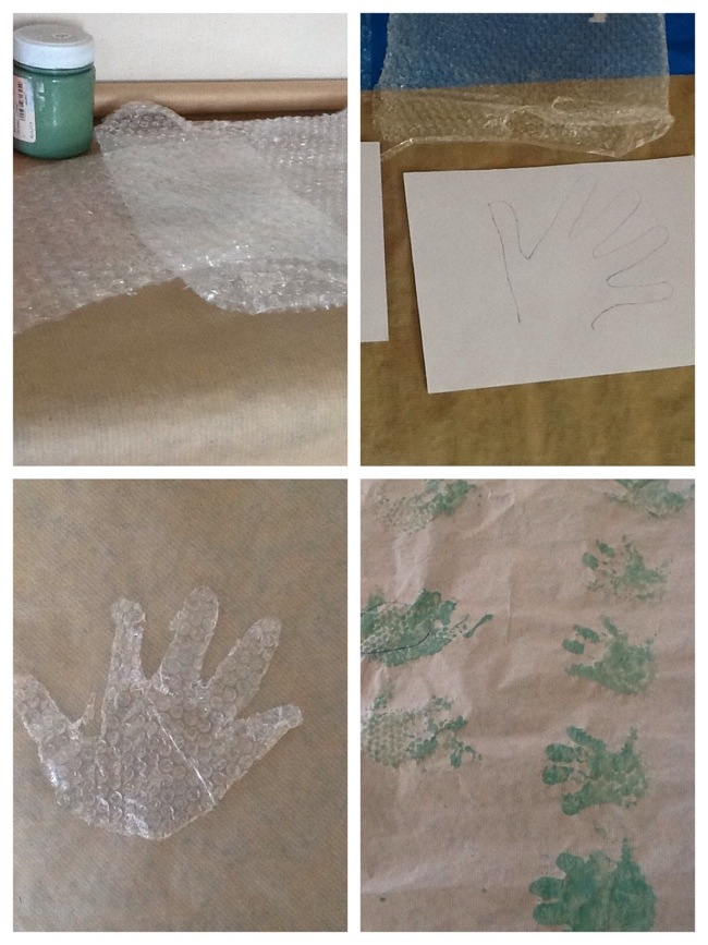 Hand prints with bubble wrap