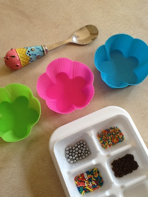 silicone cups, spoon, sprinkles