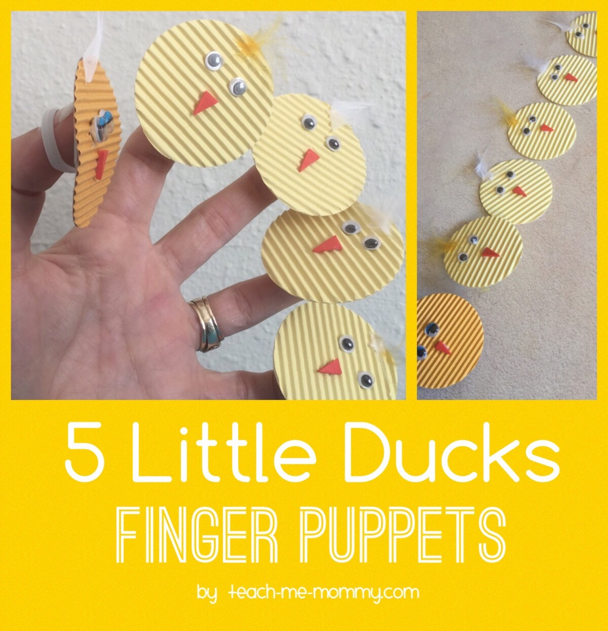 five little ducks, finger puppets