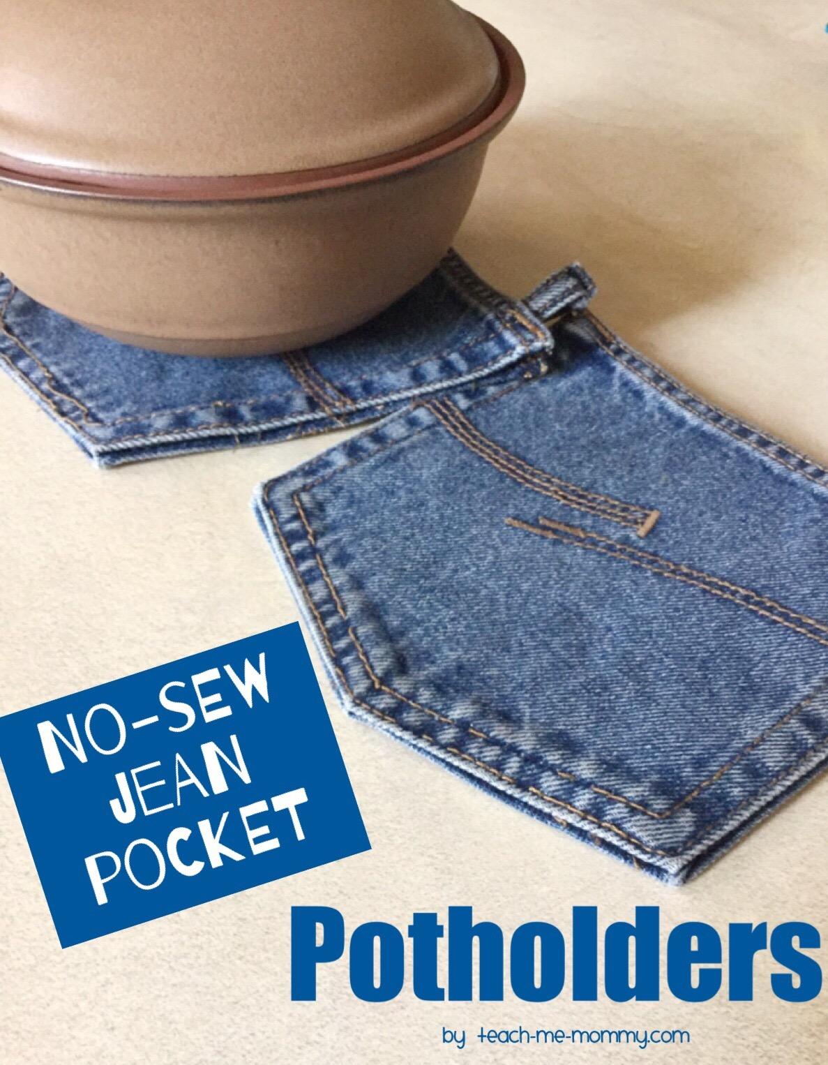 No Sew Jean Pocket Potholders Teach Me Mommy