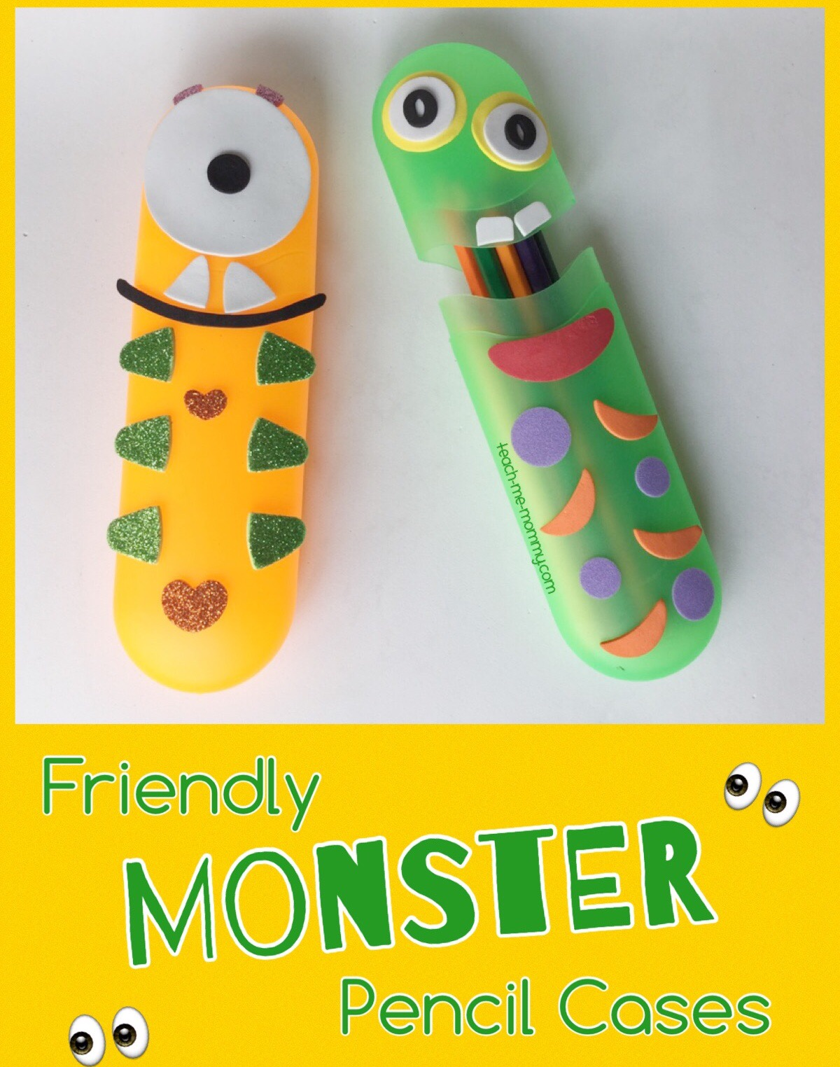 friendly monster pencil cases