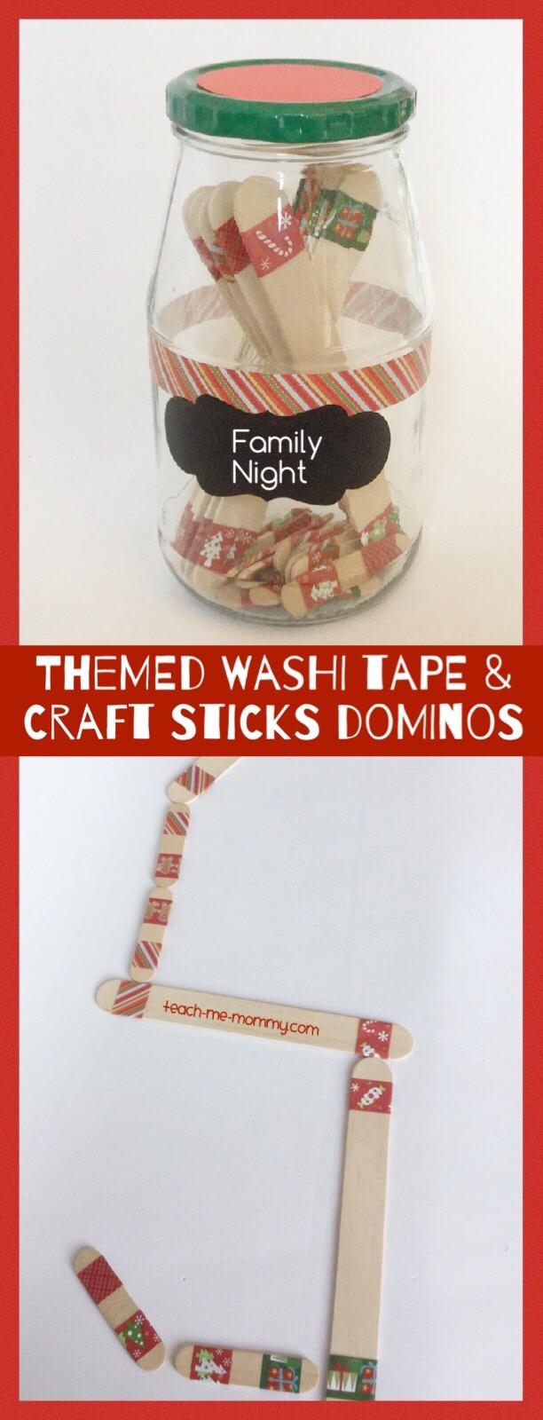 craft stick & washi tape dominos