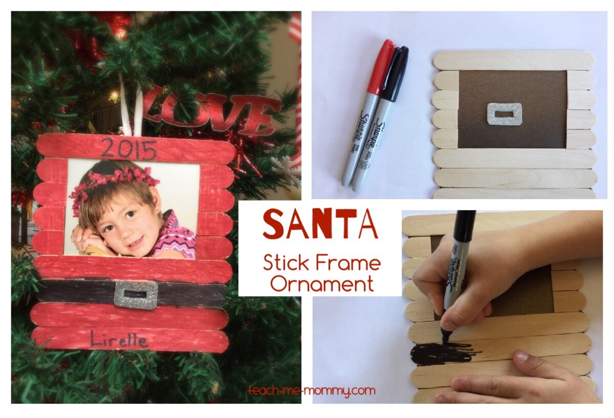santa stick frame ornament