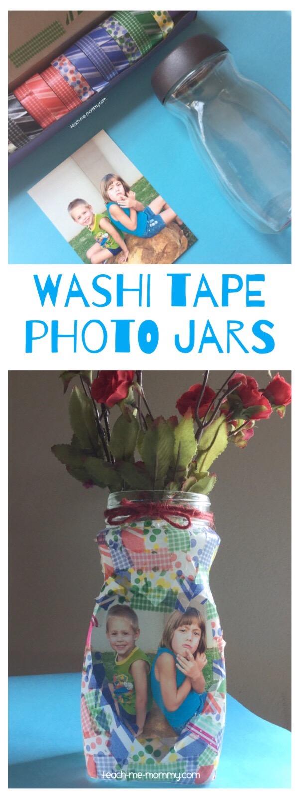 washi tape photo jar