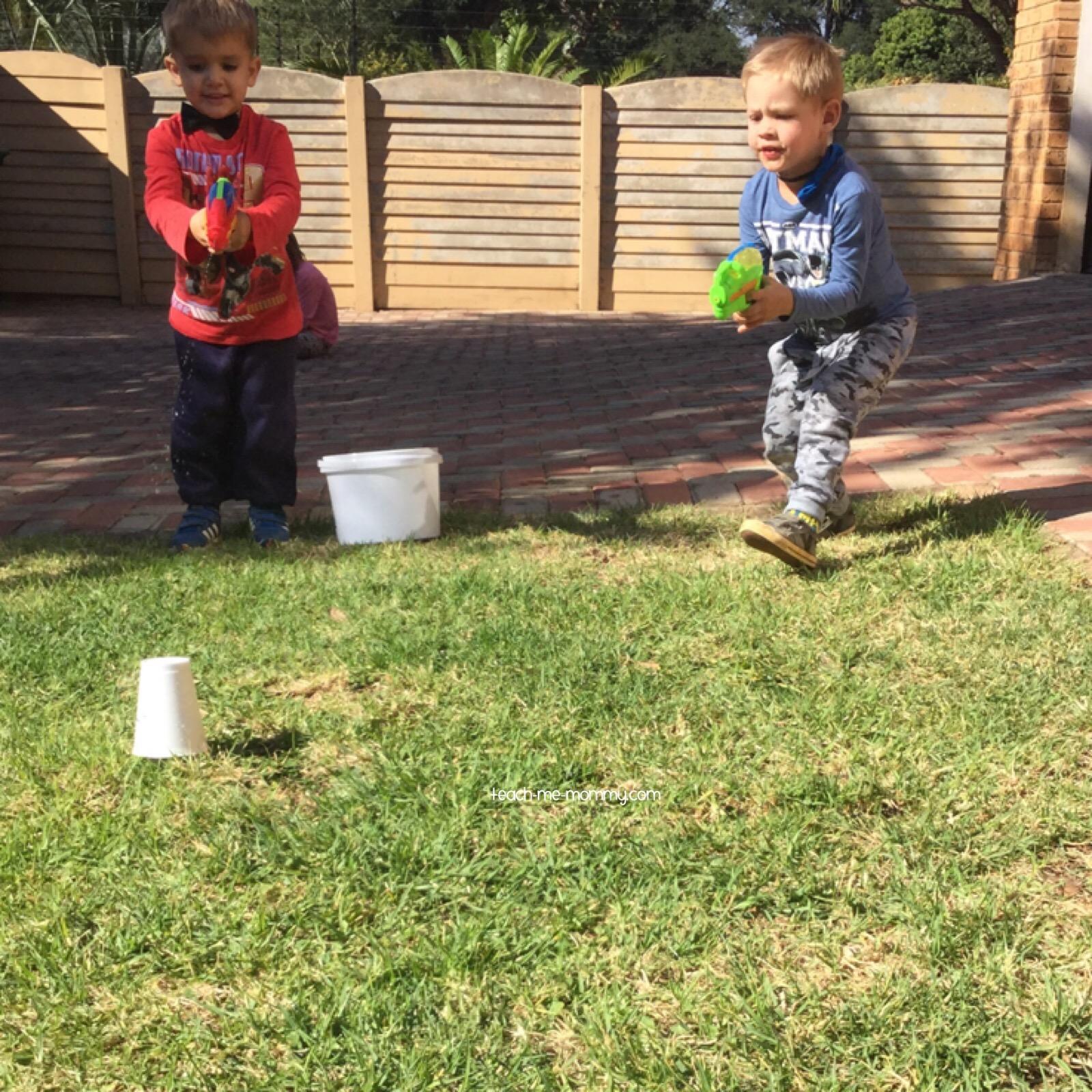 little ones shooting cups