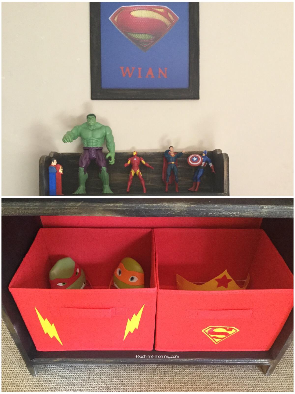 superhero shelf