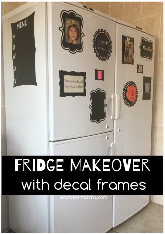 fridge makeover with decal frames