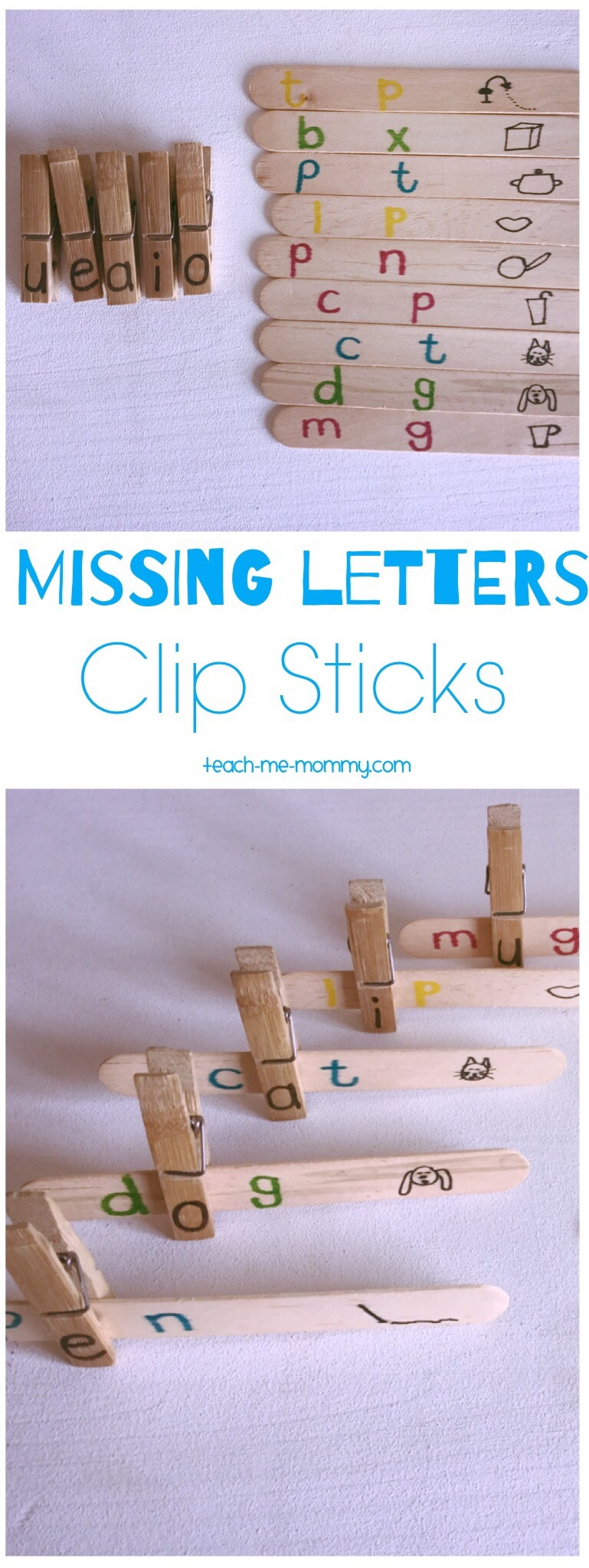 Missing letter clip sticks