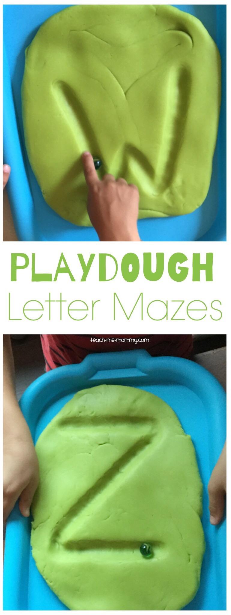 Playdough letter mazes