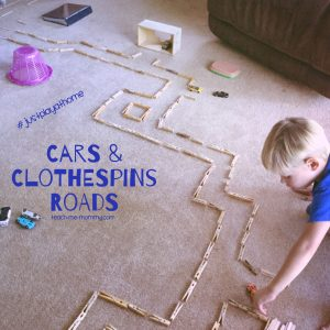 Cars & clothespins roads