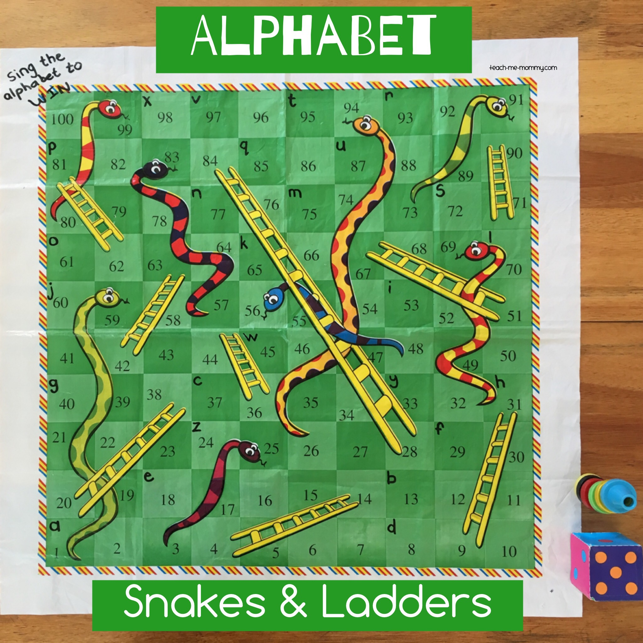 Alphabet Snakes and Ladders game